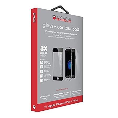 Защитное стекло + бампер InvisibleShield Glass+ Contour 360 - Full Body with Bumper Case - Black -iPhone 7/8 Plus Black (200101131)