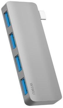 USB-C Хаб WIWU T6S 4-in-1 Type C converter Grey