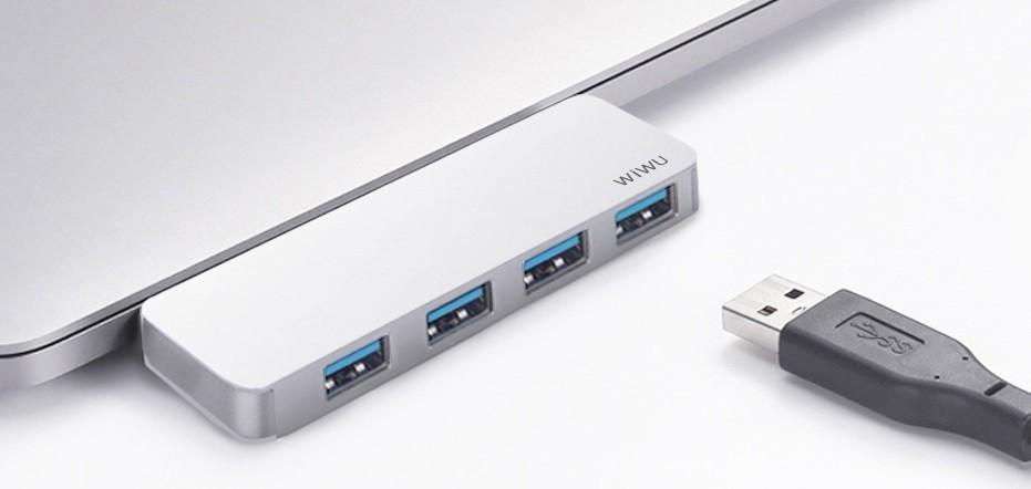 USB-C Хаб WIWU T6S 4-in-1 Type C converter Sliver