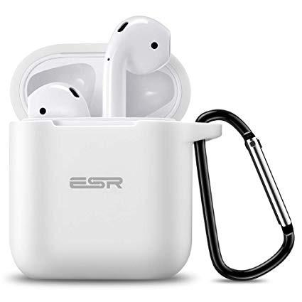 Силиконовый чехол с карабином ESR Bounce White Airpods