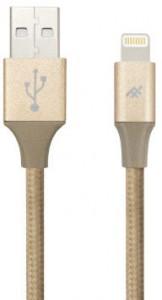 Купить Плетеный кабель с алюминиевым коннектором iFrogz Unique Sync Premium - Lightning Cable — 3m Gold (IFUSLC-GD3)