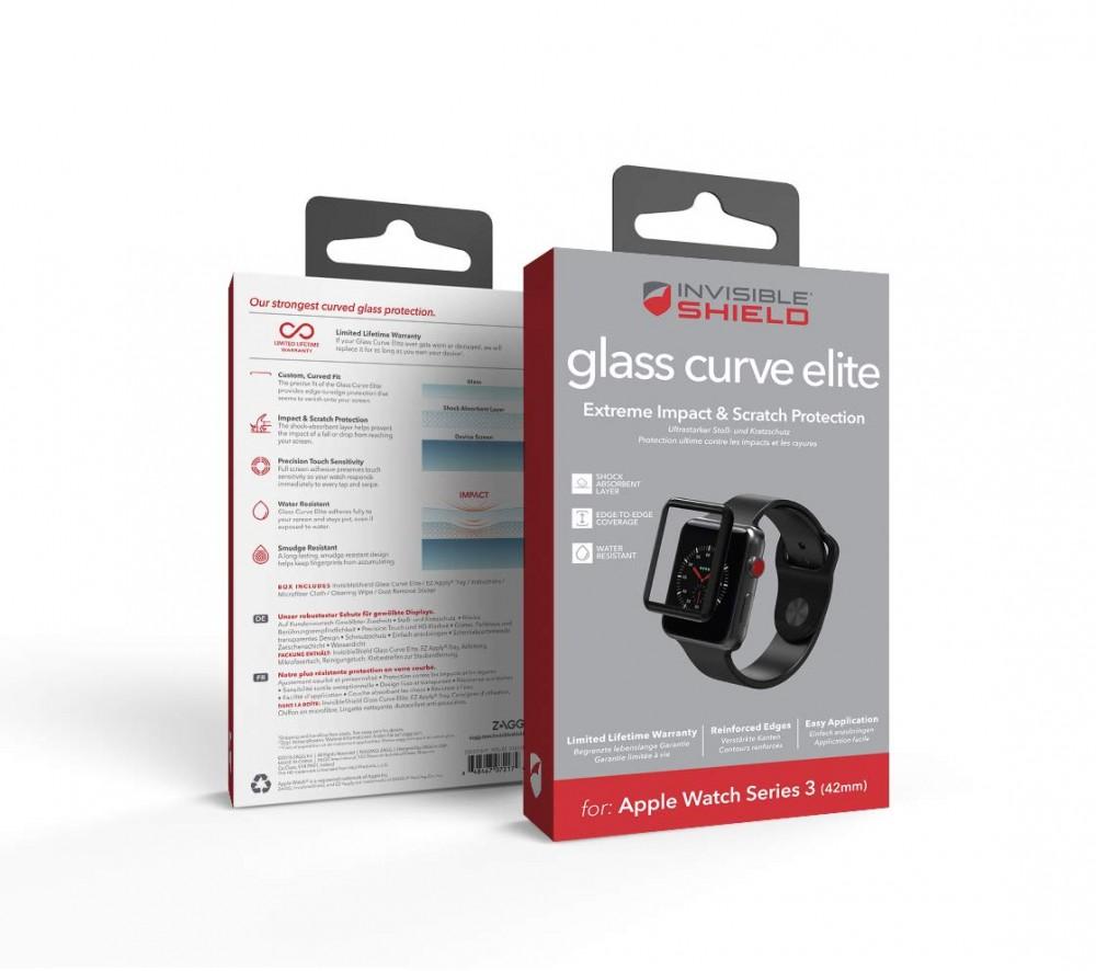 Защитное стекло InvisibleShield Glass Curve Elite-Apple-Watch (42mm)-Series 3-Full Screen Black (200101819)