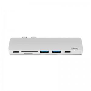 Купить USB-C Хаб WIWU T8 Type-C Hub  Dual C Sliver