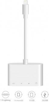 Aдаптер WIWU Apollo A4LTSU Lightning to Lightning/microSD/SD/USB white