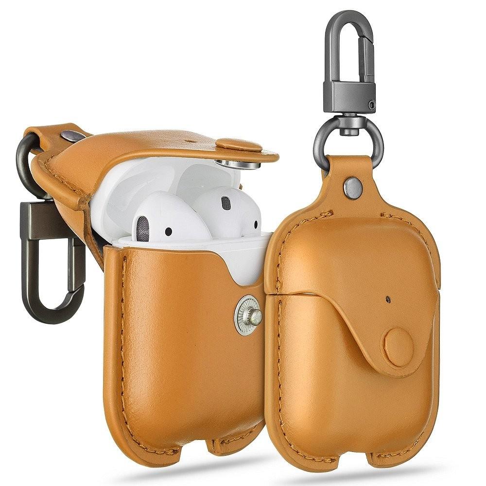 Кожаный чехол с карабином ESR Oxford Leather Case Brown Airpods