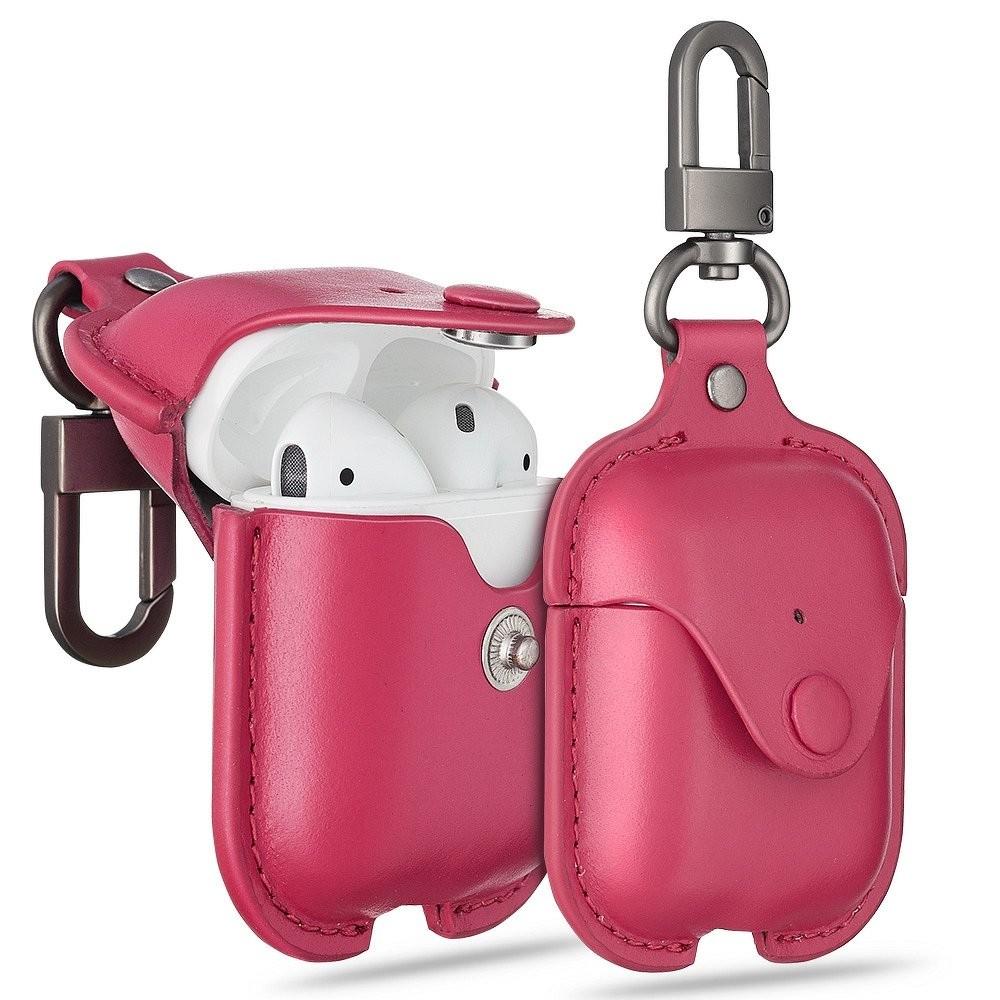 Кожаный чехол с карабином ESR Oxford Leather Case Pink Airpods