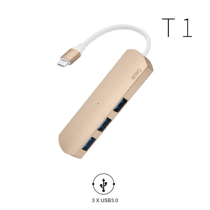 USB-C Хаб WIWU T1 3-in-1 Type C convertor Gold