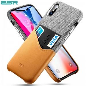 Купить Чехол с отделением для карт ESR Metro Gray+Brown iPhone XS/X