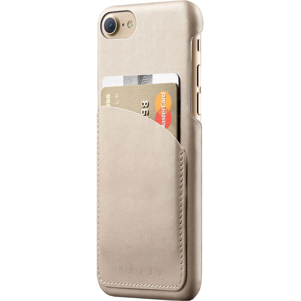 Кожаный чехол с отделением для карт MUJJO Leather Wallet Case iPhone 8/7 Champagne (MUJJO-CS-026-CH)