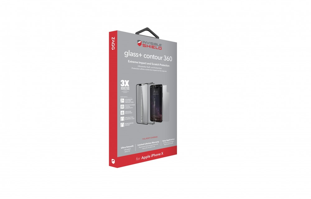 Защитное стекло + бампер InvisibleShield Glass+ Contour 360 - Full Body with Bumper Case - Black - iPhone X Black (200101025)