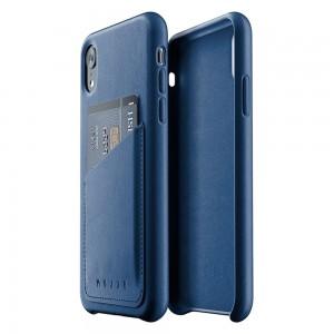 Купить Кожаный чехол с отделением для карт MUJJO Full Leather Wallet Case iPhone Xr Blue (MUJJO-CS-104-BL)
