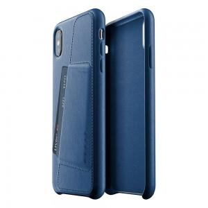 Купить Кожаный чехол с отделением для карт MUJJO Full Leather Wallet Case iPhone Xs Max Blue (MUJJO-CS-102-BL)