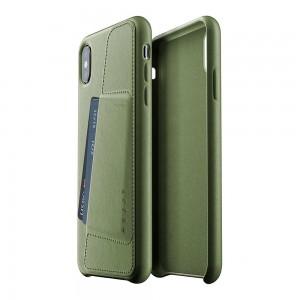 Купить Кожаный чехол с отделением для карт MUJJO Full Leather Wallet Case iPhone Xs Max Olive (MUJJO-CS-102-OL)