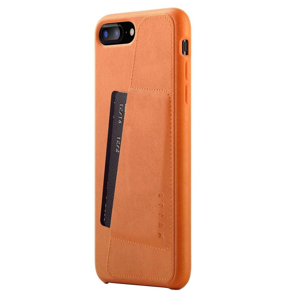 Кожаный чехол с отделением для карт MUJJO Full Leather Wallet Case iPhone 8 Plus/7 Plus Tan (MUJJO-CS-091-TN)