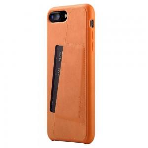 Купить Кожаный чехол с отделением для карт MUJJO Full Leather Wallet Case iPhone 8 Plus/7 Plus Tan (MUJJO-CS-091-TN)