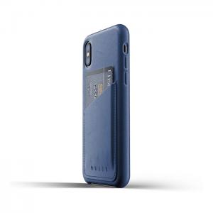 Купить Кожаный чехол с отделением для карт MUJJO Full Leather Wallet Case iPhone Xs Blue (MUJJO-CS-092-BL)
