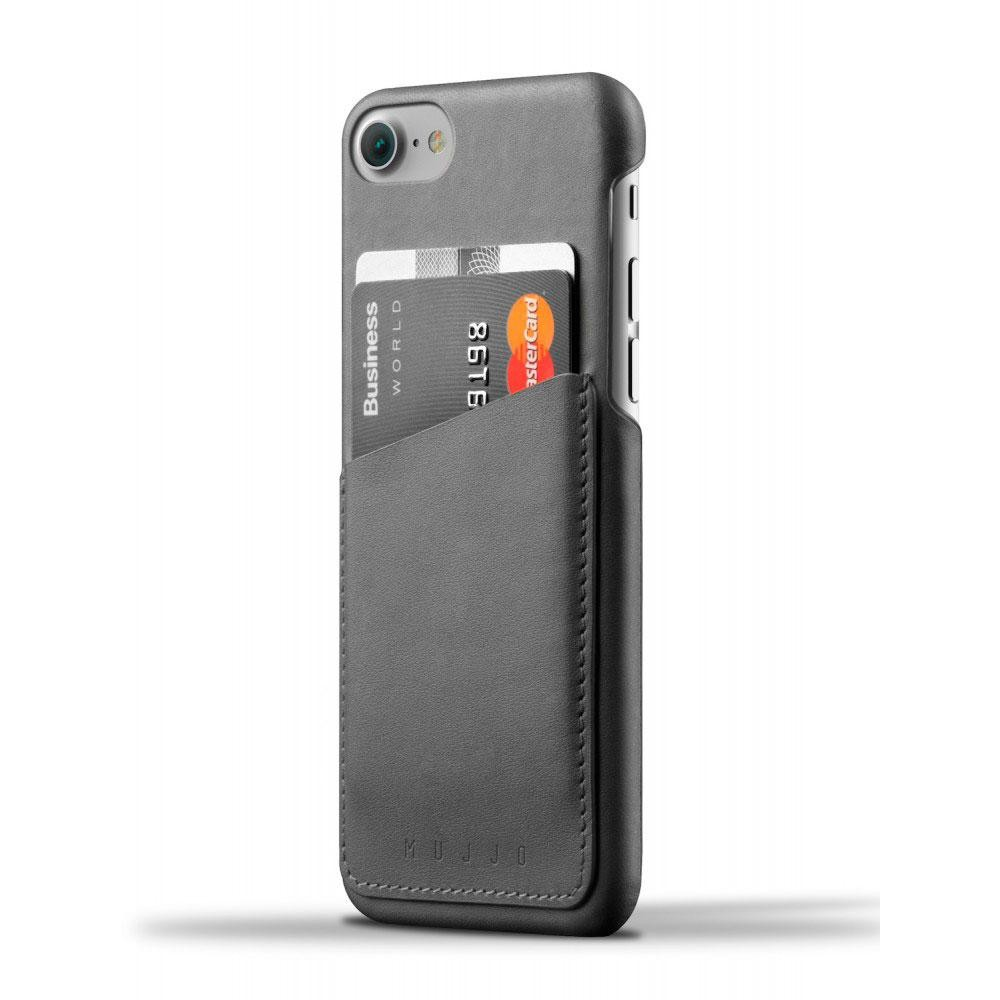 Кожаный чехол с отделением для карт MUJJO Leather Wallet Case iPhone 8/7 Gray (MUJJO-CS-070-GY)
