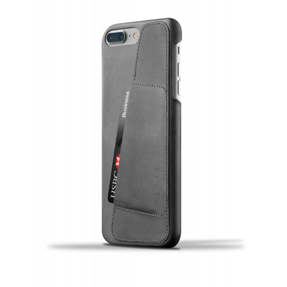 Кожаный чехол с отделением для карт MUJJO Leather Wallet Case iPhone 8 Plus/7 Plus Gray (MUJJO-CS-071-GY)
