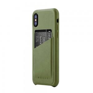 Купить Кожаный чехол с отделением для карт MUJJO Full Leather Wallet Case iPhone Xs Olive (MUJJO-CS-092-OL)