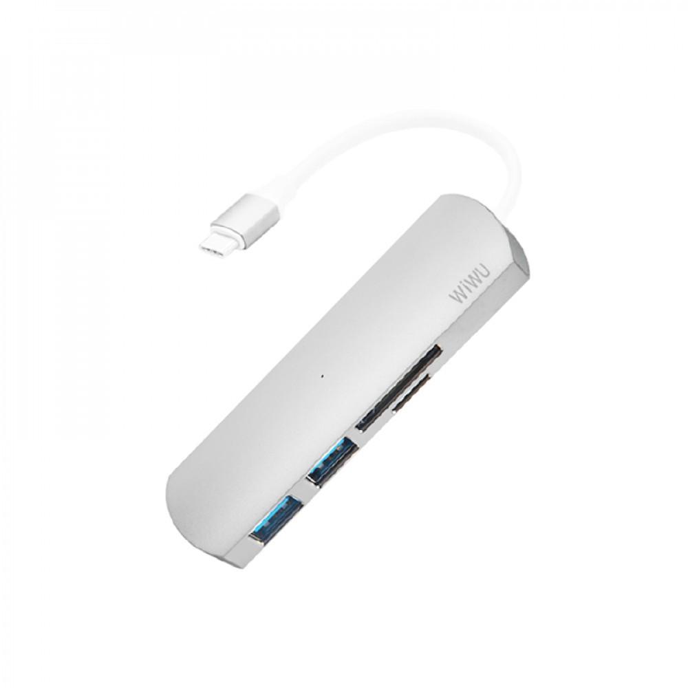USB-C Хаб WIWU T2 4-in-1 Type C convertor Sliver